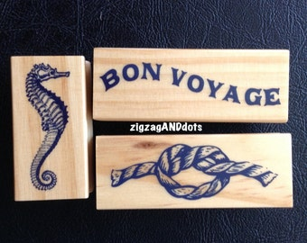 Nautical Theme Rubber Stamp on Wood Block, Rope, Seahorse, Bon Voyage, Scrapbooking, Cardmaking, Your Choice of One Stamp
