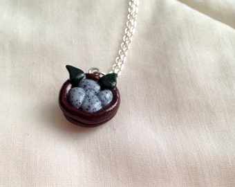 Robin's Egg Nest - Polymer Clay Pendant Necklace