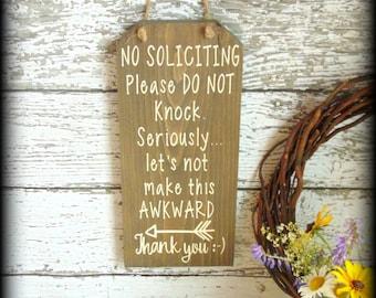 Funny No Soliciting Sign - No Solicitation Sign - Rustic Wooden Decor - Front Door Sign - Porch Decor - Do Not Disturb - Arrow Decor