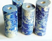 Pattern tube beads, 4 Long tube beads, Blue white Faux ceramic beads, Watercolour beads, Rustic print beads, Pattern art beads, Boho tubes