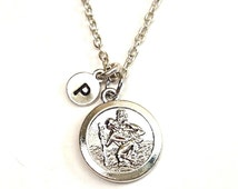 St Christopher Necklace, Silver Saint Christopher Necklace, Travel Protection, Fearless, Protected, St Christopher Medal, Medal with Prayer,