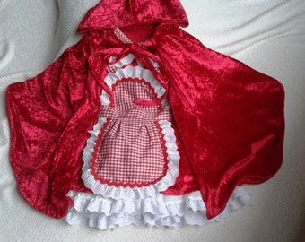 little red riding hood costume for baby girl 12-36 months halloween photo prop ,  toddler little red riding hood velvet birthday handmade