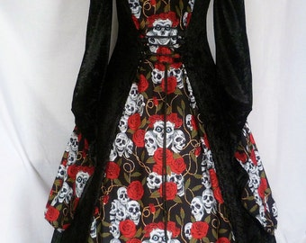 Gothic gown with collar, Halloween Skull costume, Halloween wedding, Day of the Dead Costume, custom made to your size