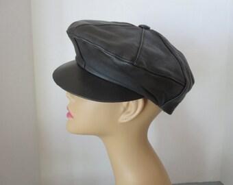 Vintage 1960's Black Leather Tam Beret Hat With Visor