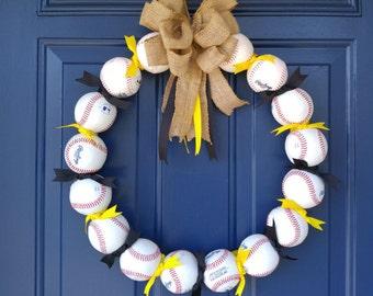 Custom Made Team Colors Baseball Wreath!