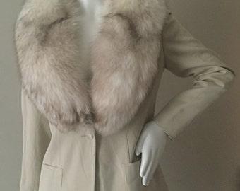 Vintage 1970s Lillie Rubin Wool Jacket w/ Extravagant Fox Fur Collar