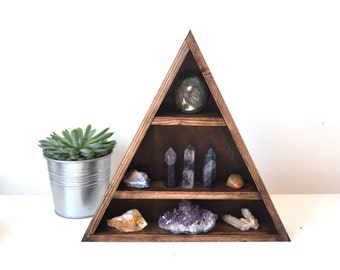 Hanging - Double Triangle Wooden Mountain Shelf