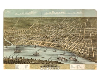 """Memphis Tennessee in 1870 Panoramic Bird's Eye View Map by A. Ruger 22x16"""" Reproduction"""