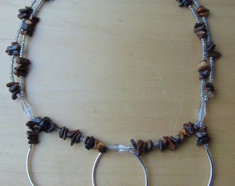 Brown beaded double strand necklace