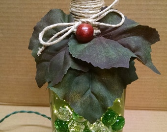Large Lighted Wine Bottle with Glass Grapes