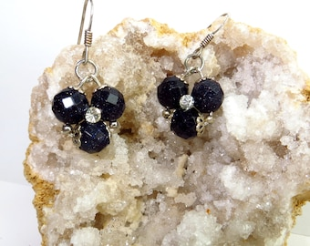Navy Blue Dangle Earrings Gemstone Earrings Gift For Her Flower Earrings Drop Earrings Gift for Women Gemstone Jewelry