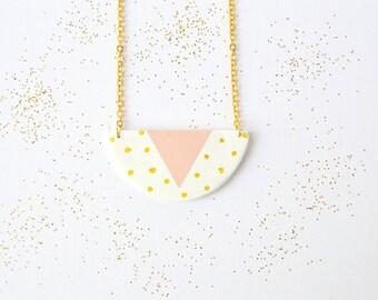 Ceramic pendant Geometric clay necklace Minimalist polka dot jewellery Statement jewelry
