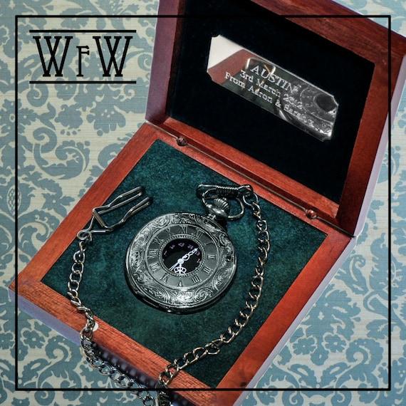 engraved gunmetal pocket groomsmen by watchesforweddings
