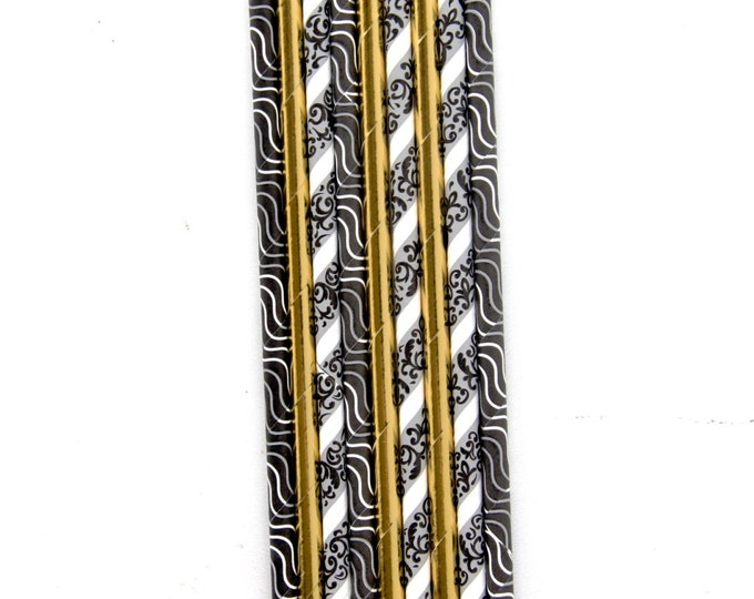 Midnight Glam Straw With Gold Straw, Gold Foil Straw,  Black and White Paper Decorative, Straw flag, Graduation, New Years Eve Party Wedding