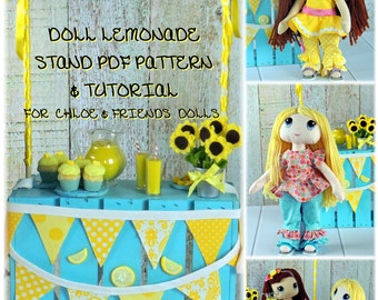 "DOLL Lemonade Stand Play Set PDF Pattern and Tutorial for Chloe & Friends 17"" Cloth Dolls Instant Download Pattern"