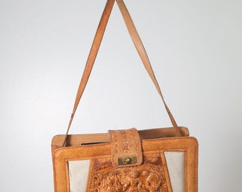 Vintage Tan Tooled Leather Purse