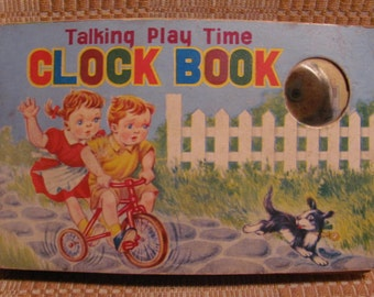 1940's 'Talking Play Time Clock Book' Unique Toy Sqeak Book Printed in Japan by G. A.