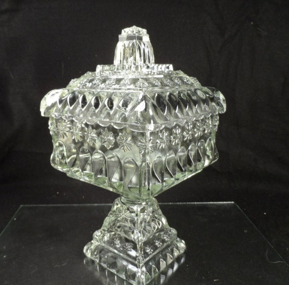 Square Clear Glass Footed Covered Candy Dish-Pedestal Bowl With Lid and Stars-Large covered pedestal bowl.