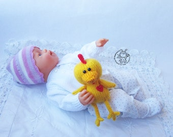 Toy for sleep. Chicken for small babies- knitting pattern (knitted round). Amigurumi Chicken