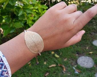 Real Leaf bracelet Gold Leaf bracelet Natural Leaf bracelet 10 karat gold plated leaf Gold dipped leaf Real leaf jewelry Gold bracelet