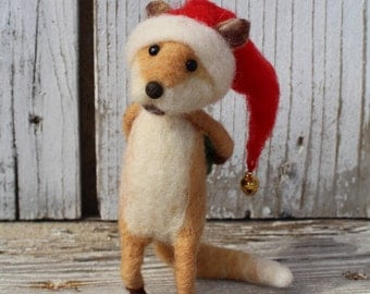 Needle felted christmas fox, Christmas animal, Felted animal, Christmas fox, Christmas decoration, Winter ornament, Art doll, Eco toy, Gift