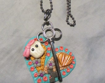 Polymer Clay Jewelry Sugar Skull Hearts & Gunmetal Skeleton Key Pendant Turquoise/Coral/Gold Ball Chain Necklace
