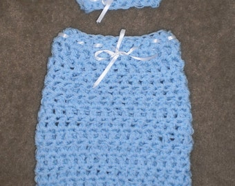 Baby Blue Cocoon And Matching Hat Set