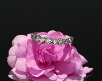 14k White Gold Halfway Diamond Wedding Band, Bezel Set Wedding Ring in 14k white gold  (available in rose gold, yellow gold and platinum)