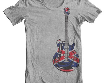 British Flag Electric Guitar T shirt Gibson Guitar Shirt Father Day Gifts Gifts for Boyfriend Gifts for Dad Union Jack flag British Decor