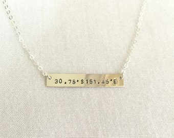 Longitude Latitude Necklace, Bar Necklace, 14K Gold Filled, Silver Bar, Personalized Necklace, Coordinate Necklace, Wedding Place Coordinate