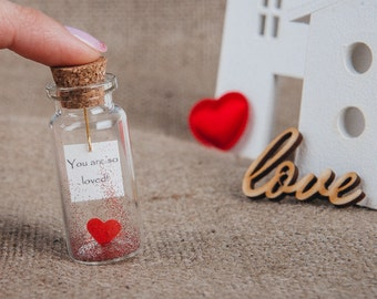 Message|in|a|bottle|Gift|for|girlfriend|For|boyfriend|Valentine's|gift|card|Personalized|Gift|for|lovers|Thoughtful|Gift|Tiny|Red|Heart