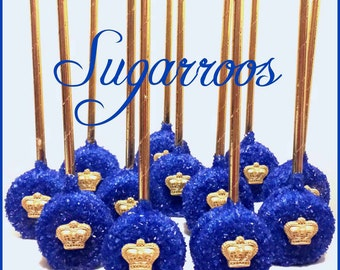 12 Royal Prince Oreo Pops Royal Blue and Gold Candy Buffet Little Prince or Princess Oreo Pops Baby Shower Christening Communion Birthday