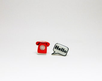 Telephone and Hello Stud Earrings
