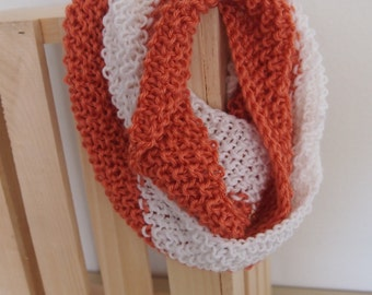 Lightweight Hand Knit Infinity Scarf in White and Coral Colorblock