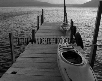 Lake Atitlan, Lake Pier, Kayaks, Travel Photography, Guatemala, Nature Landscape, Atitlan Volcano, Nature Wall Art, Boat Dock,