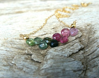 Watermelon Tourmaline 14K Gold Filled Necklace, Curved Bar Necklace, Gold Filled Chain Necklace, Quality Tourmaline Jewelry