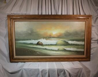 George Cherepov beachscape oil on canvas mid-century - ART10017