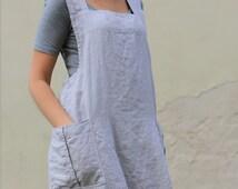 Linen Pinafore apron / Square Cross Linen Apron / Japanese Apron / Washed long apron / Sizes XXS to XXL