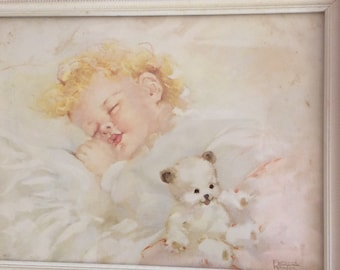 Vintage 40s 50s SHABBY Chic BABY ASLEEP Mid Century Florence Roger Framed Print