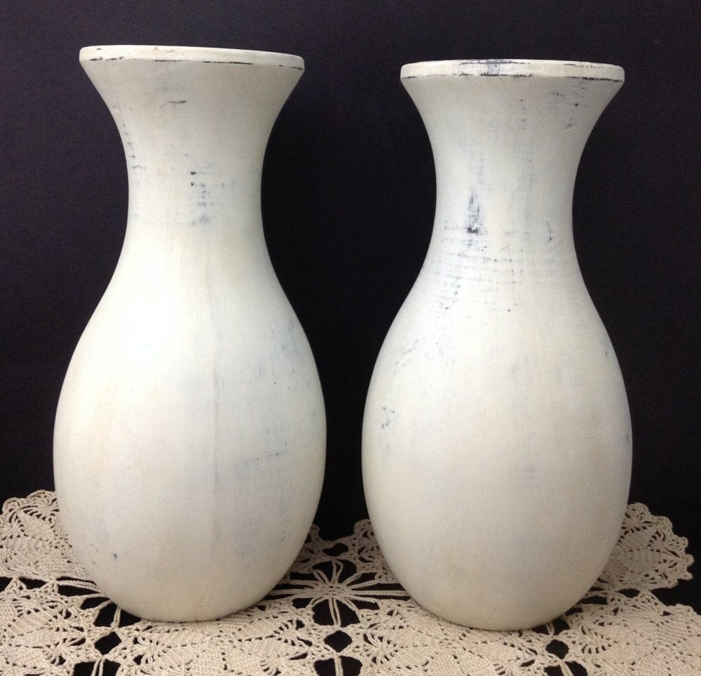 vintage wood vase pair shabby chic vase pair vase set chalk. Black Bedroom Furniture Sets. Home Design Ideas