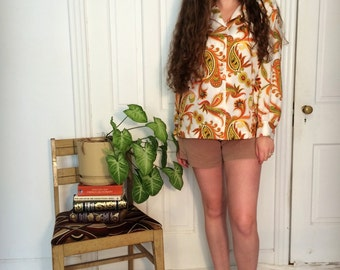 vintage 70s groovy orange paisley print button down shirt