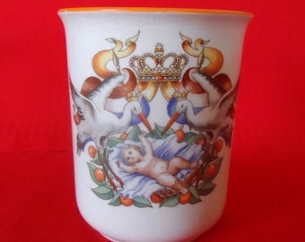 3 PETRUS REGOUT Co. MAASTRICHT Birth of Princess Julianna of The Netherlands China Beakers Vintage