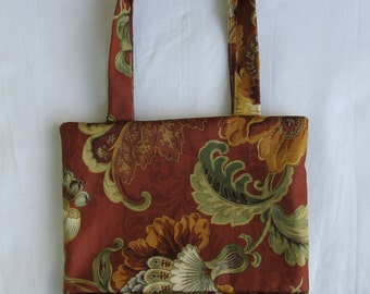 Small Tote/ Hostess Gift Bag- Coffee Floral