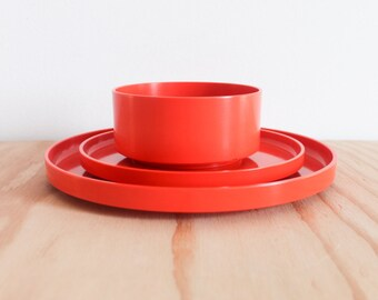 Orange Massimo Vignelli Heller 3 Piece Dish Set