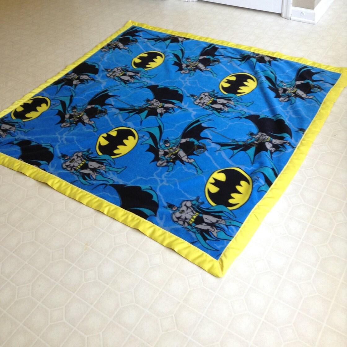 BATMAN Fleece Blanket With Yellow Binding By TrucksDirt123