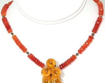 BN072- Exquisite 3D Anastasia Lampwork Glass and Fire Carnelian necklace, and matching earrings set