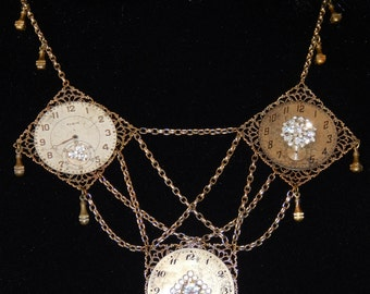 Vintage Repurposed Watch Face & Rhinestone Necklace #N101