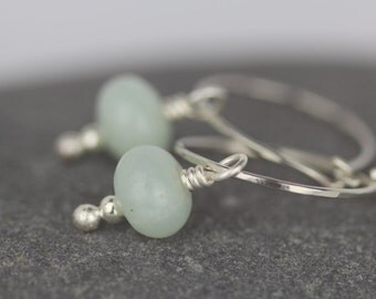 Amazonite earrings ~sterling silver hoop earrings ~delicate earrings ~spring greens dangle earrings ~small silver hoop drops ~stone earrings