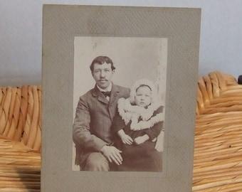 Vintage Photograph, Photograph, 1900's Black & White Photograph, Father and Daughter, Photograph, Antique Photograph, Edwardian