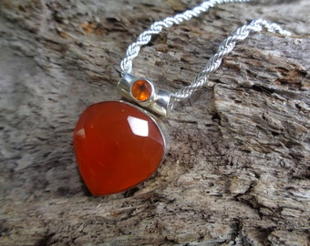 "925 sterling silver, genuine, natural, faceted Carnelian teardrop necklace. 16/18/20/30"" 925 chain. Summery. International shipping. *398*"